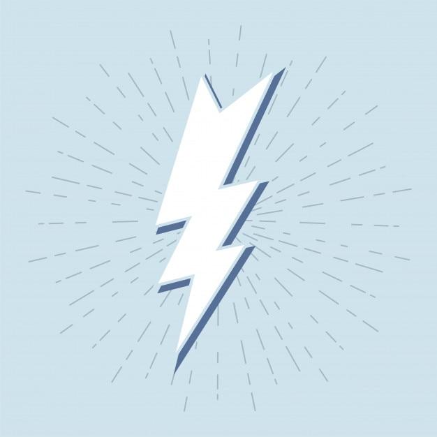 Símbolo do trovão vintage com sunburst em fundo grunge Vetor Premium