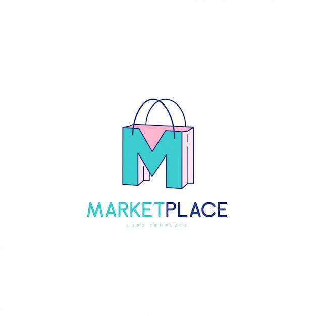 Símbolo elegante letra m, conceito de logotipo do mercado local Vetor Premium
