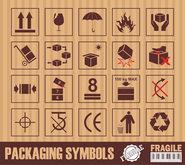 Símbolo frágil em papelão Vetor Premium
