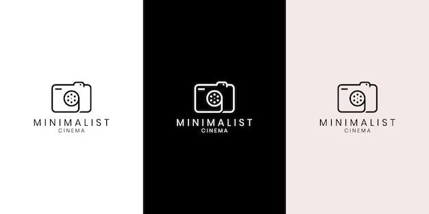 Símbolo, ícone e logotipo de fotógrafo criativo simples, consistindo de câmera e rolo de filme Vetor Premium