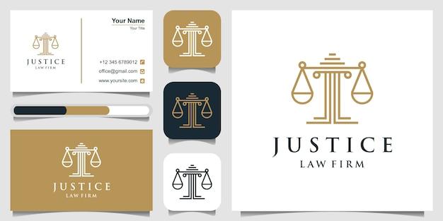 Símbolo legal da justiça. escritórios de advocacia, escritório de advocacia, serviços de advogado, modelo de design de logotipo de luxo e cartão de visita Vetor Premium