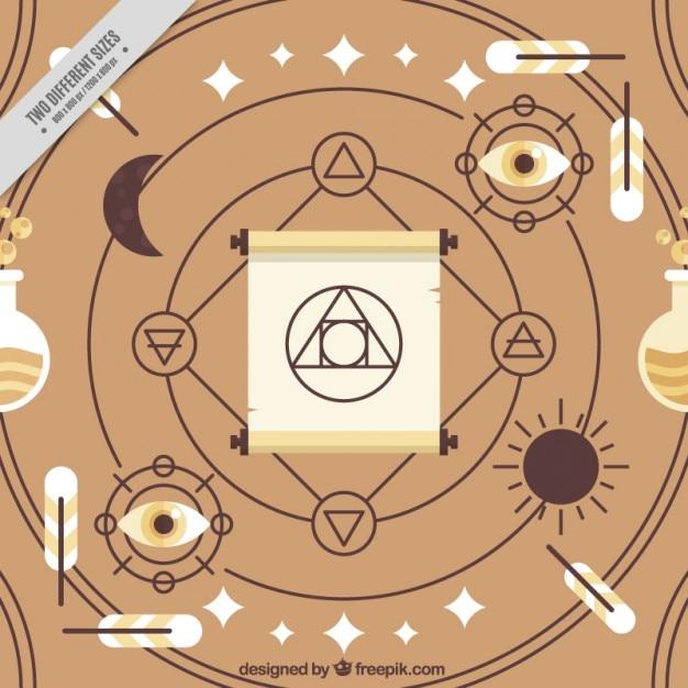 Símbolos abstratos espirituais e acessórios Vetor grátis