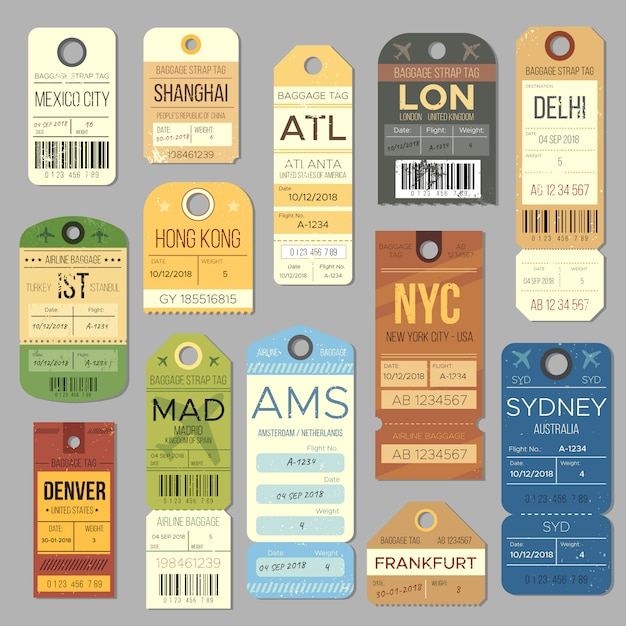 Símbolos da etiqueta do vintage da bagagem do carrossel da bagagem. bilhete de trem antigo e símbolo de carimbo de viagem de avião. Vetor Premium