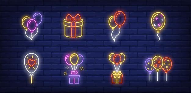 Símbolos de balões em estilo neon Vetor grátis