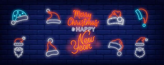 Símbolos de boné de natal em estilo neon Vetor grátis