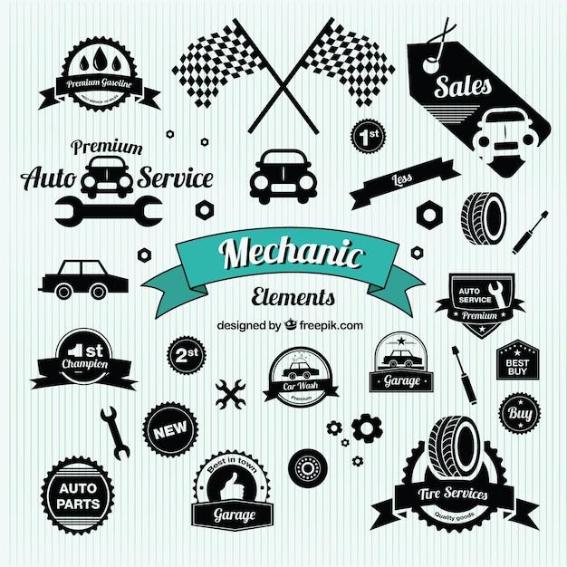 Símbolos de carros antigos Vetor grátis