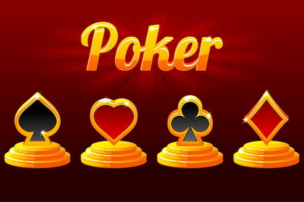 Símbolos de cartas de jogar e pôquer. naipe de cartas de jogar. Vetor Premium