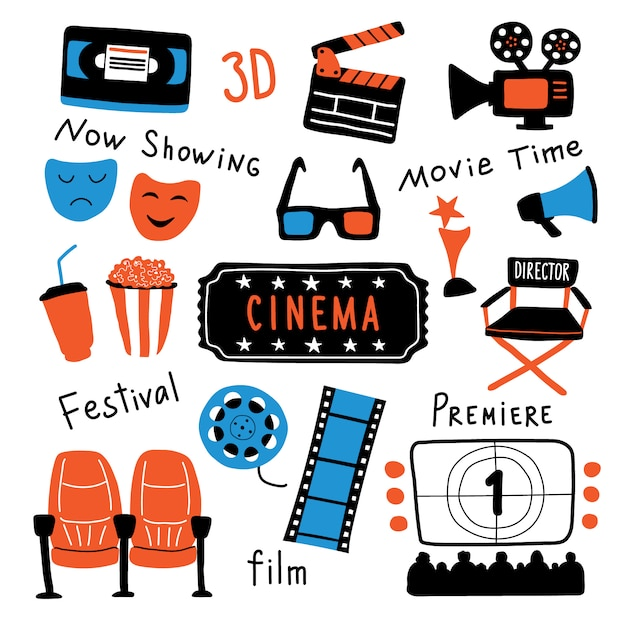 Símbolos de cinema com letras de tinta. Vetor Premium