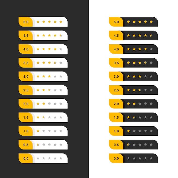 Símbolos de classificação de estrelas amarelas escuras e claras Vetor grátis