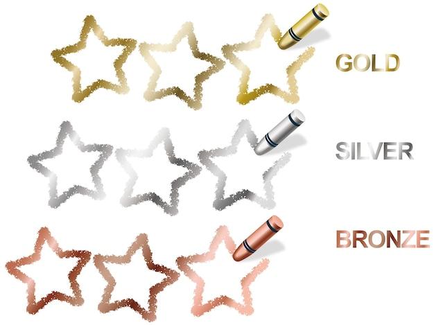 Símbolos de classificação de três estrelas de giz de cera vetorial em ouro Vetor grátis