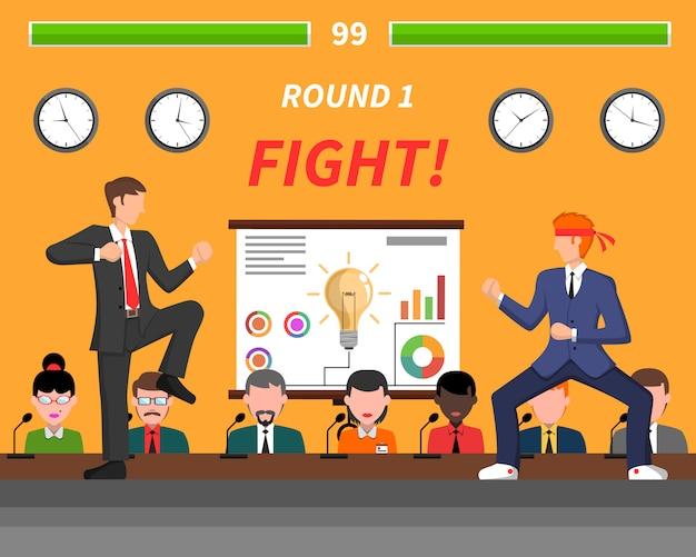 Símbolos de competição de negócios banner de luta Vetor grátis