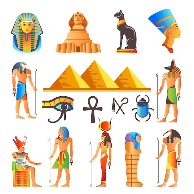 Símbolos de cultura do egito vector ícones isolados de deuses e animais sagrados Vetor Premium