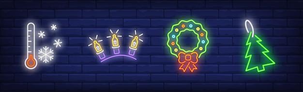 Símbolos de decoração de ano novo em estilo neon Vetor grátis