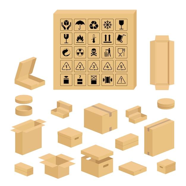 Símbolos de embalagem e conjunto de caixa de papelão Vetor Premium