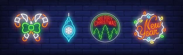 Símbolos de enfeites de natal em estilo neon Vetor grátis