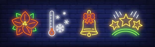 Símbolos de férias de inverno definidos em estilo neon Vetor grátis