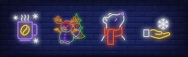 Símbolos de inverno definidos em estilo neon com café quente Vetor grátis