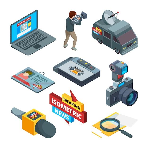 Símbolos de notícias de última hora. imagens isométricas de escritores videógrafos e jornalistas Vetor Premium