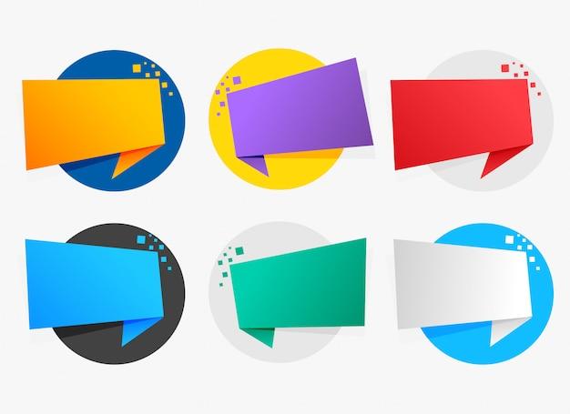 Símbolos de origami colorido com espaço de texto Vetor grátis
