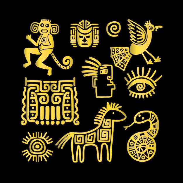 Símbolos de ouro animal antigo asteca Vetor Premium