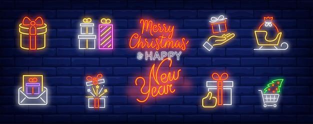 Símbolos de presentes de natal em estilo neon Vetor grátis
