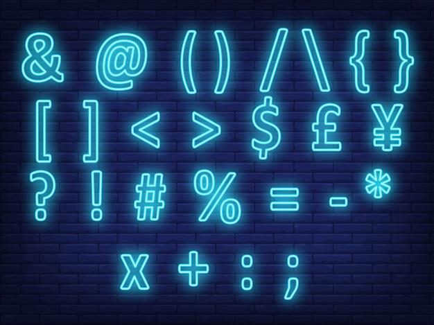 Símbolos de texto azul brilhante, sinal de néon Vetor grátis