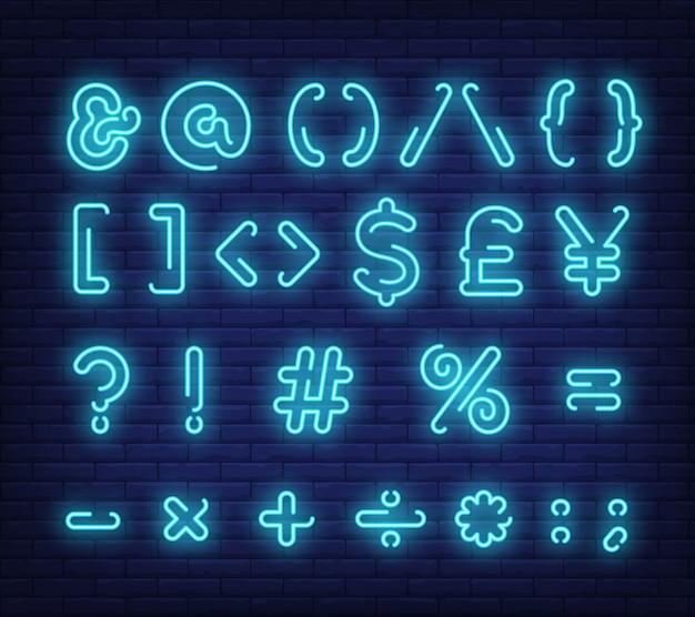 Símbolos de texto azul, sinal de néon Vetor grátis