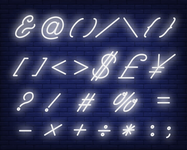 Símbolos de texto cursivo branco sinal de néon Vetor grátis