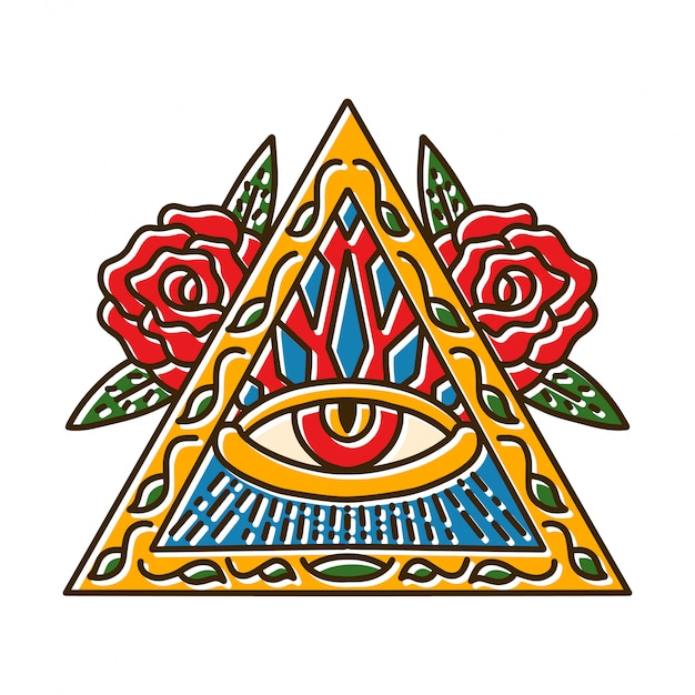 Símbolos de triângulo com olho Vetor Premium
