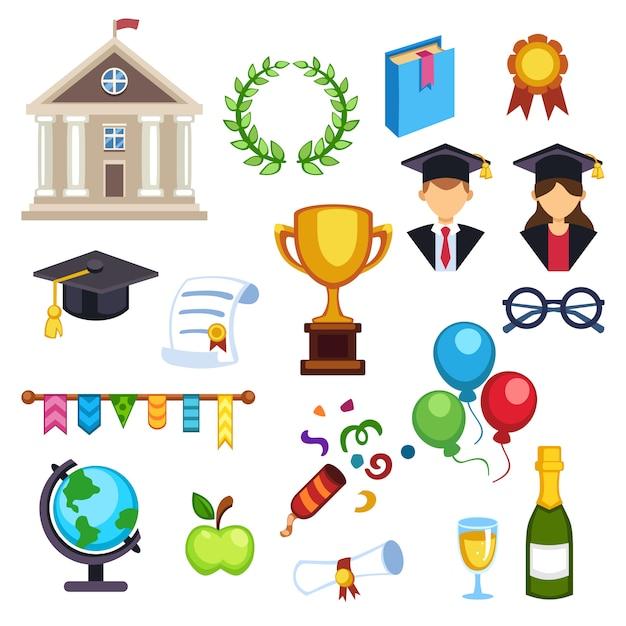 Símbolos de vetor de educação de graduação Vetor Premium