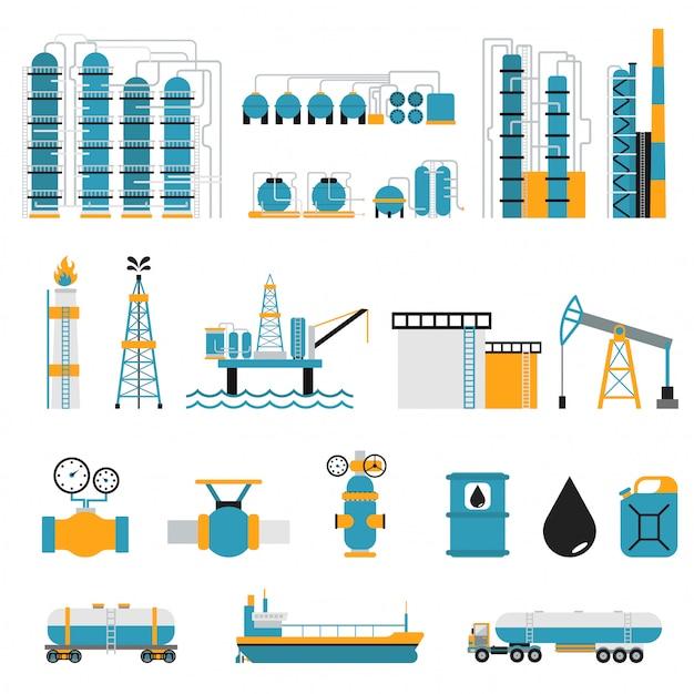 Símbolos de vetor de estilo plano de indústria de petróleo Vetor Premium
