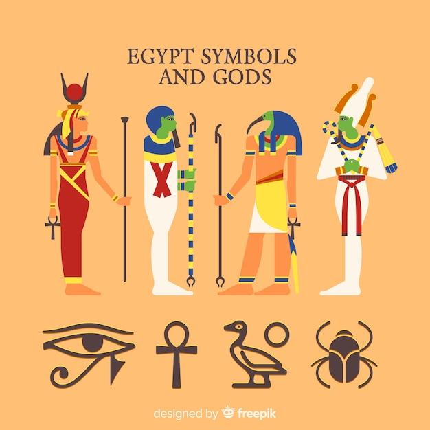 Símbolos do egito e coleção de deuses Vetor grátis