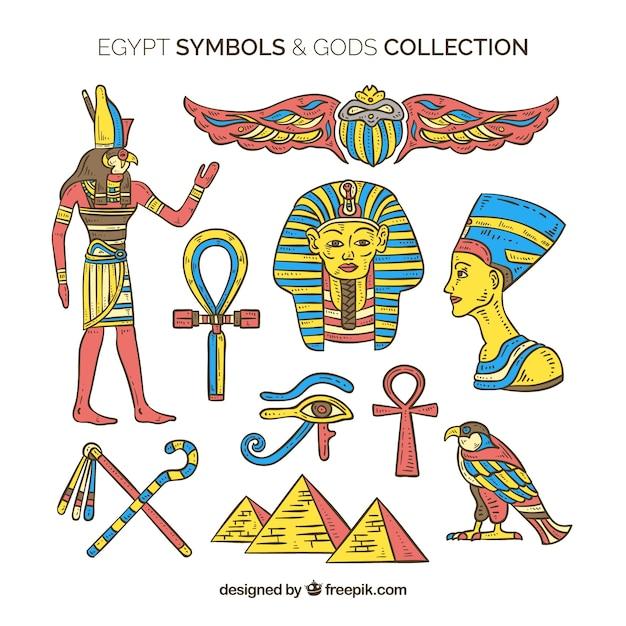 Símbolos do egito e deuses na mão desenhada estilo Vetor grátis