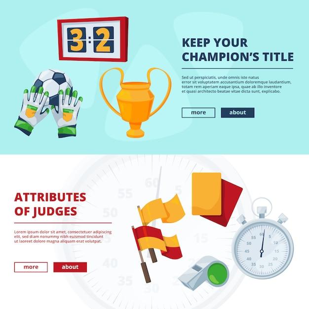 Símbolos do esporte no estilo cartoon. vector várias ilustrações de elementos de futebol. conjunto de banners Vetor Premium