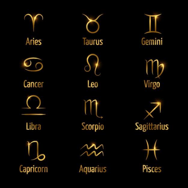 Símbolos do zodíaco mão desenhada brilham efeito ouro Vetor Premium