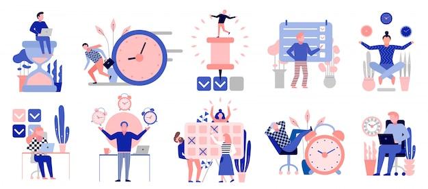 Símbolos eficazes de gerenciamento de tempo conjunto de elementos planos com tarefas de planejamento de atividades de treinamento agendam pontos de verificação isolados Vetor grátis
