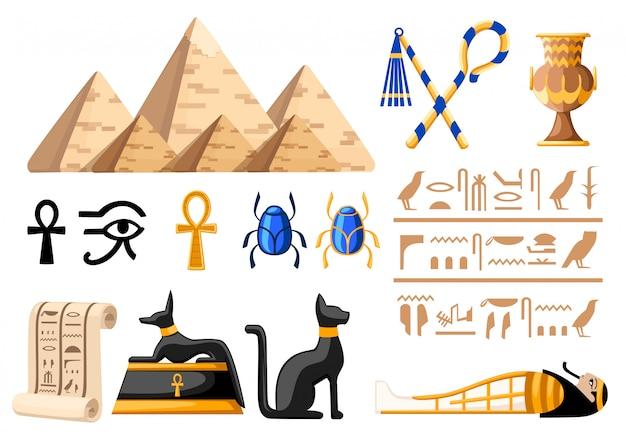 Símbolos egípcios antigos e ilustração de ícones do egito de decoração na página do site e no aplicativo móvel com fundo branco Vetor Premium