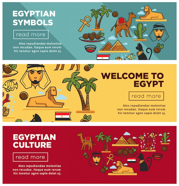Símbolos egípcios e banners de internet promocional de cultura definida Vetor Premium