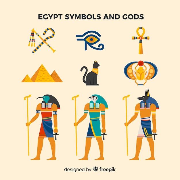 Símbolos egípcios planas e coleção de deuses Vetor grátis