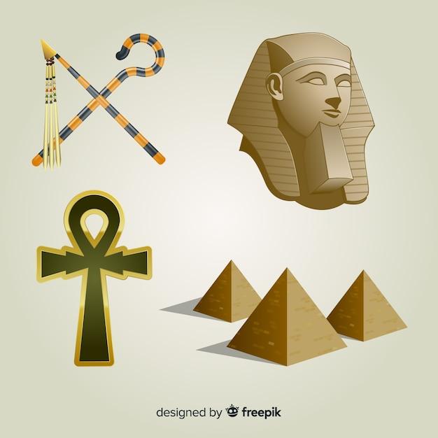 Símbolos egípcios realistas e coleção de deuses Vetor grátis