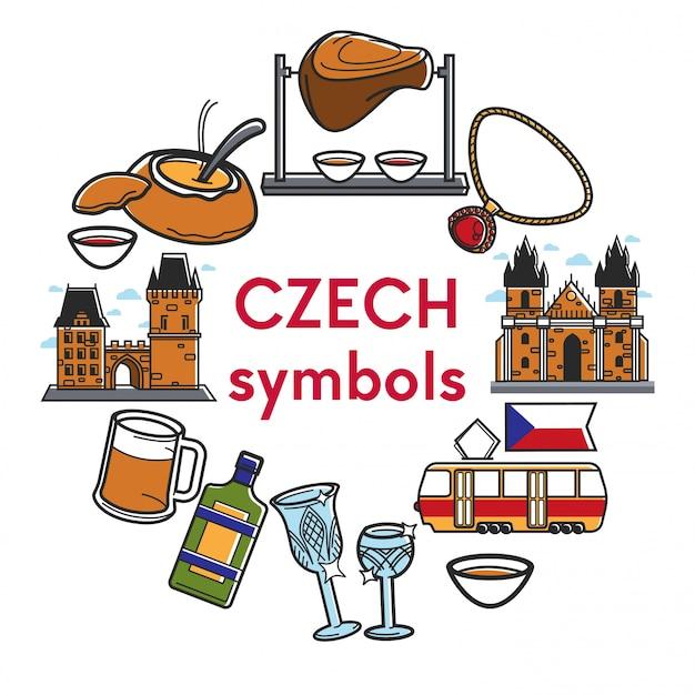 Símbolos famosos da república checa Vetor Premium