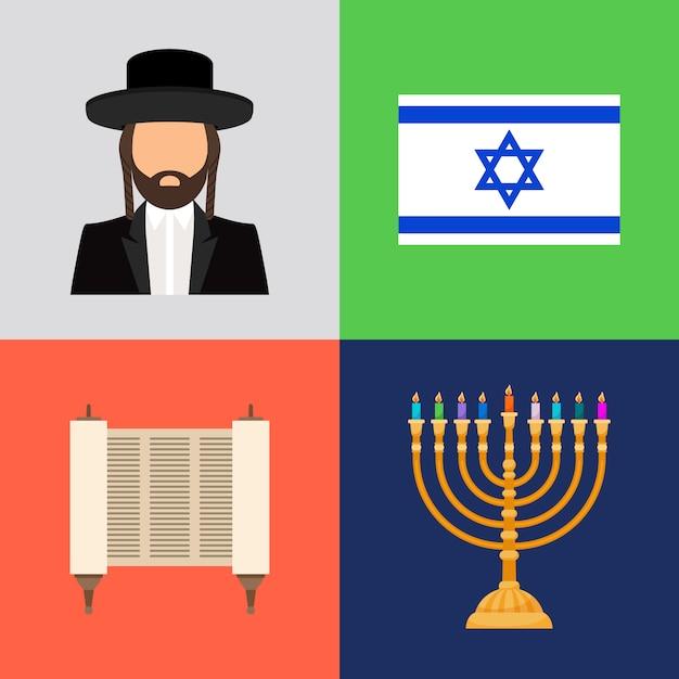 Símbolos judaicos e judaicos Vetor Premium