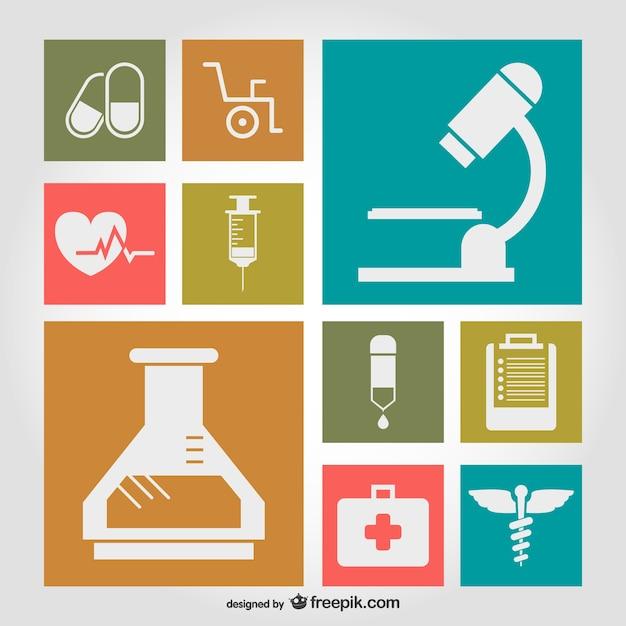 Símbolos médicos ilustração plana Vetor grátis