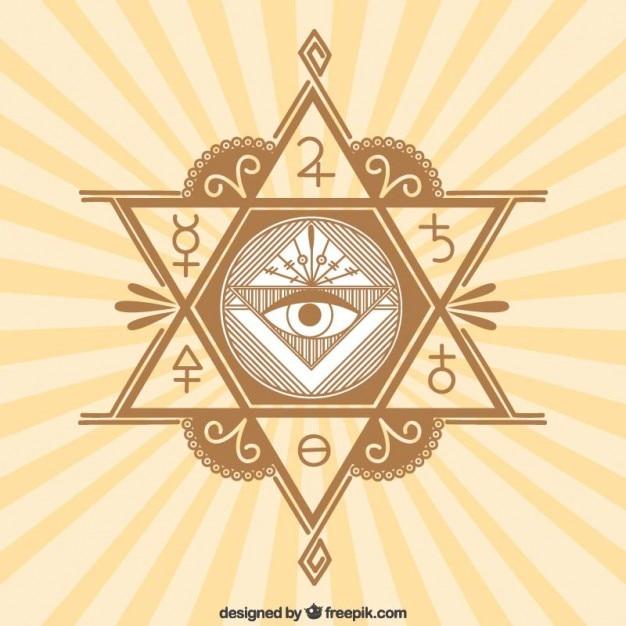 Símbolos místicos em um fundo sunburst Vetor grátis