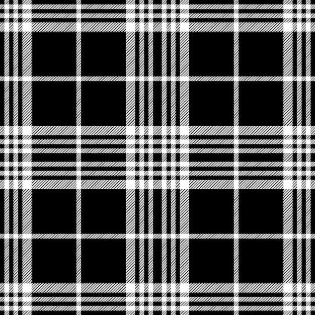 Simle escuro sem costura padrão preto branco tartan Vetor Premium