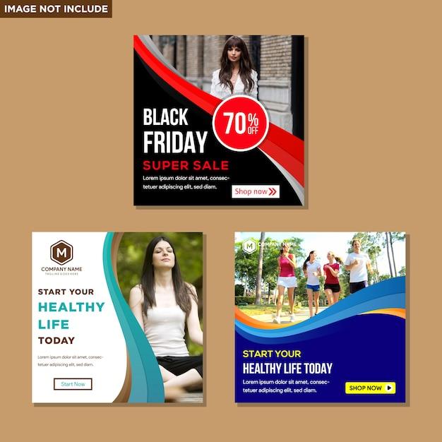 Simples info moderno quadrado de banner Vetor Premium