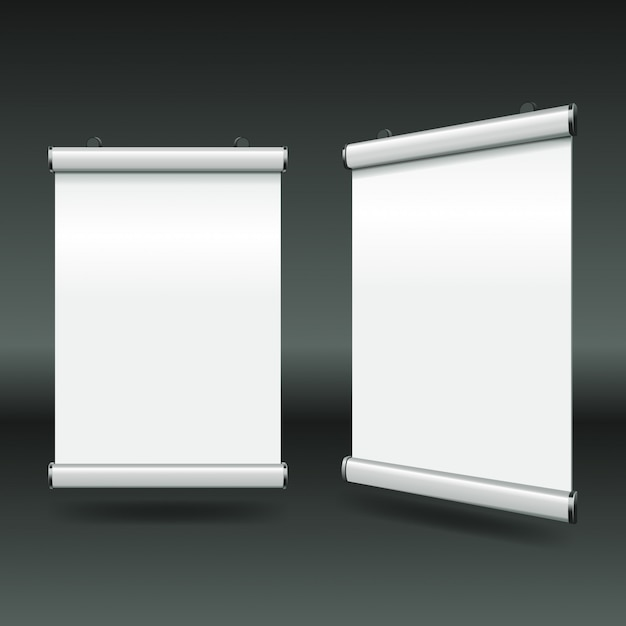 Simples mínimo branco arregaçar banners Vetor Premium