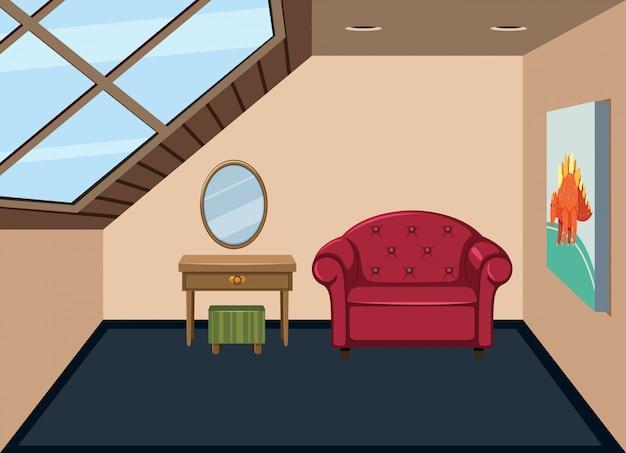 Simplesmente interior do sótão Vetor Premium
