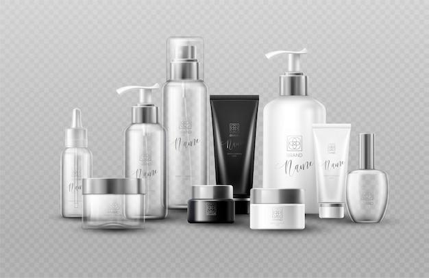 Simulação de garrafa cosmética definir pacotes em fundo cinza. efeito de transparência real. Vetor Premium