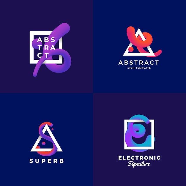 Sinais abstratos ou conjunto de modelos de logotipo. curva de mistura elegante em um quadro com gradiente ultravioleta e tipografia moderna. fundo azul escuro Vetor Premium